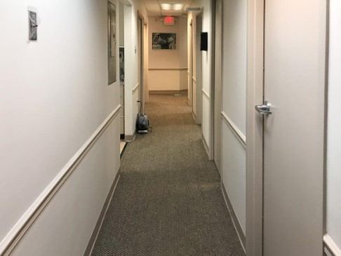 The hallway from the hygiene area